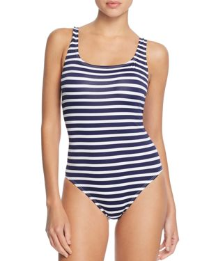 Tommy Bahama Brenton Lace-Up Back Stripe One Piece Swimsuit
