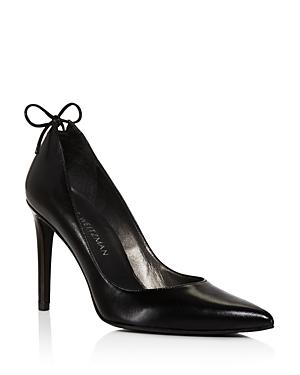 Stuart Weitzman Peekabow Leather Pointed Toe High Heel Pumps