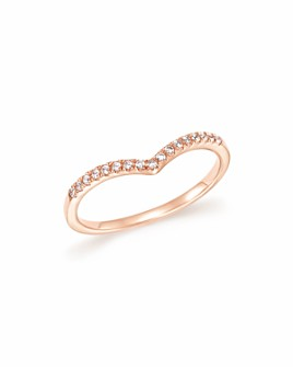 Bloomingdale's - Diamond Micro Pavé Stackable Chevron Band in 14K Rose Gold, .10 ct. t.w. - 100% Exclusive