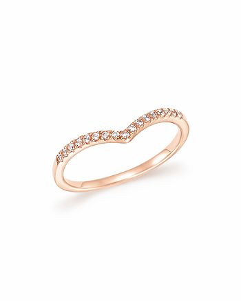 Bloomingdale's - Diamond Micro Pavé Stackable Chevron Band in 14K Rose Gold, 0.10 ct. t.w. - 100% Exclusive