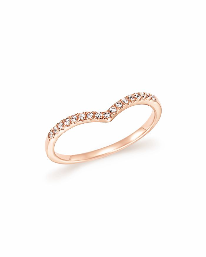 Bloomingdale's - Diamond Micro Pavé Stackable Chevron Band in 14K Rose Gold, 0.10 ct. t.w.- 100% Exclusive