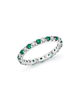 Bloomingdale's - Diamond and Emerald Eternity Band in 14K White Gold- 100% Exclusive