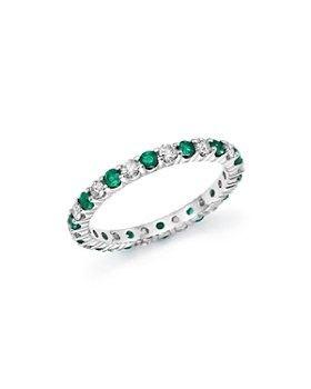 Bloomingdale's - Diamond and Emerald Eternity Band in 14K White Gold - 100% Exclusive