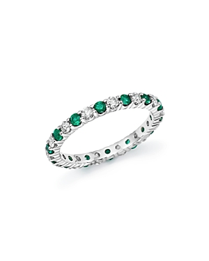 Diamond and Emerald Eternity Band in 14K White Gold - 100% Exclusive