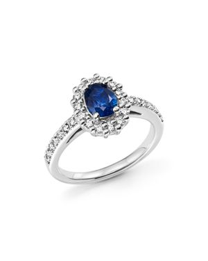 Sapphire Oval and Diamond Halo Ring in 14K White Gold - 100% Exclusive