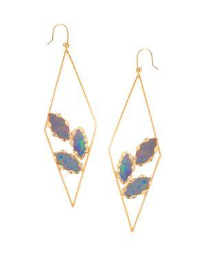 Lana Jewelry 14K Yellow Gold Geometric Opal Hoop Drop Earrings