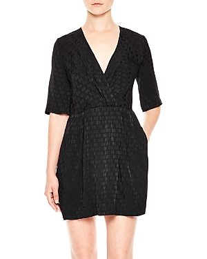Sandro Bow Faux-Wrap Dress