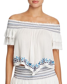 Surf Gypsy - Embroidered Off-the-Shoulder Top Swim Cover-Up