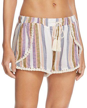 Surf Gypsy - Stripe Split Leg Swim Cover-Up Shorts