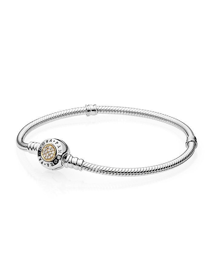Pandora - Moments Collection Signature Sterling Silver, 14K Gold & Cubic Zirconia Bracelet