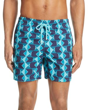 Vilebrequin Moorea Geometric Fish Print Swim Trunks