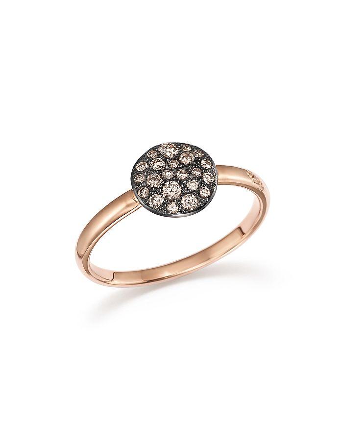 Pomellato Sabbia Ring With Diamonds In Burnished 18k Rose Gold In Brown/rose