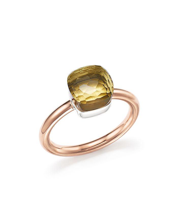 Pomellato - Nudo Mini Ring with Faceted Lemon Quartz in 18K Rose and White Gold