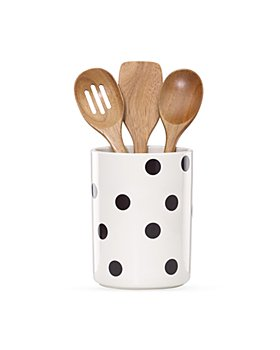 kate spade new york - Utensil Crock with 3 Wooden Utensils