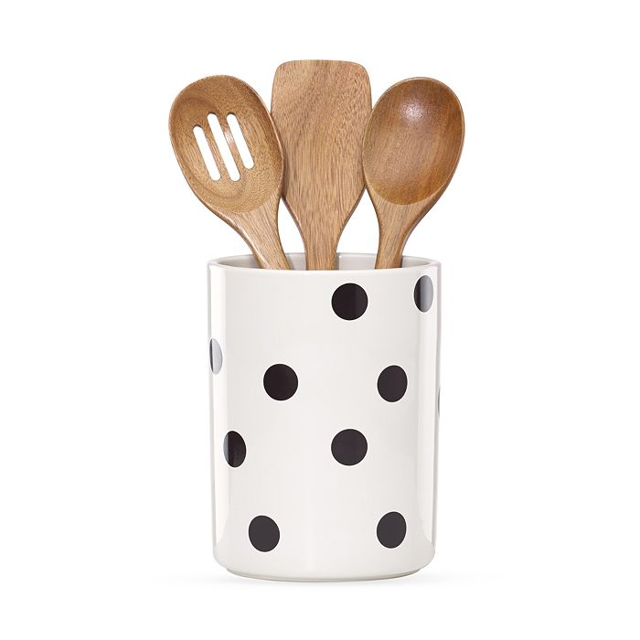 kate spade new york - Utensil Crock with 3 Wooden Utensils