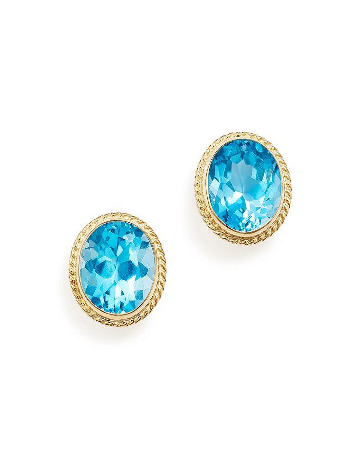 Bloomingdale's - Blue Topaz Oval Medium Bezel Stud Earrings in 14K Yellow Gold- 100% Exclusive