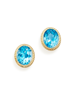 Blue Topaz Oval Large Bezel Stud Earrings in 14K Yellow Gold - 100% Exclusive
