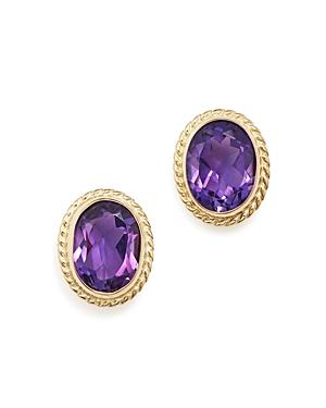 Amethyst Oval Medium Bezel Stud Earrings in 14K Yellow Gold - 100% Exclusive