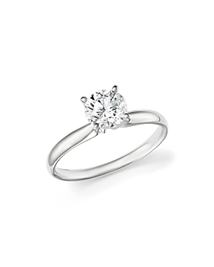 Certified Diamond Round Brilliant Cut Solitaire Ring in 18K White Gold, 0.70 ct. t.w. - 100% Exclusi