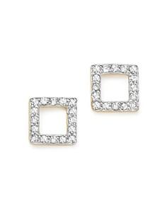 MATEO - 14K Yellow Gold Mini Diamond Square Stud Earrings