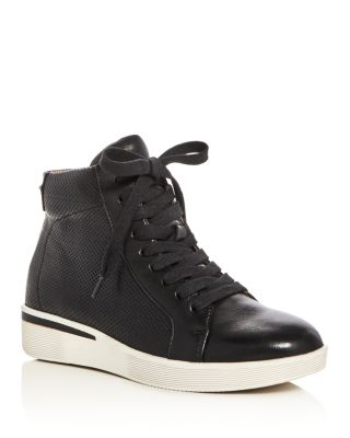 Helka Perforated High Top Sneakers, Black Leather
