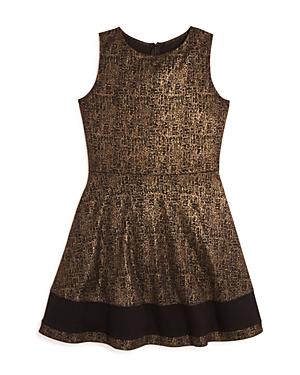 Aqua Girls Foil Print Ponte Knit Dress Big Kid  100 Exclusive