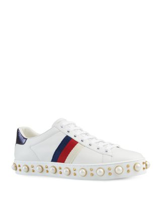 Ace Pearl Stud Lace Up Low Top Sneakers