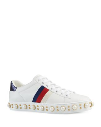 a4fdb1150 Gucci Women's Ace Pearl Stud Lace Up Low Top Sneakers | Bloomingdale's