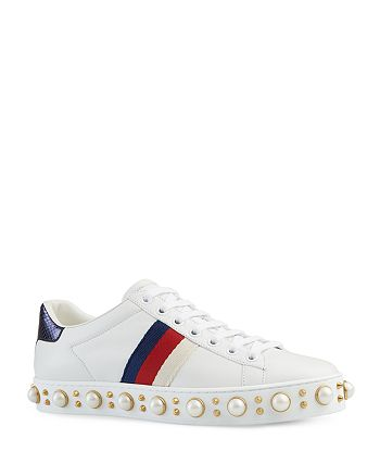 Gucci - Women's Ace Pearl Stud Lace Up Low Top Sneakers