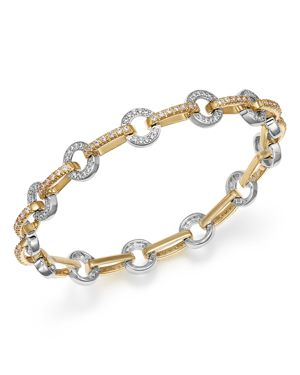 Diamond Circle Link Bracelet in 14K Yellow and White Gold, 1.35 ct. t.w.