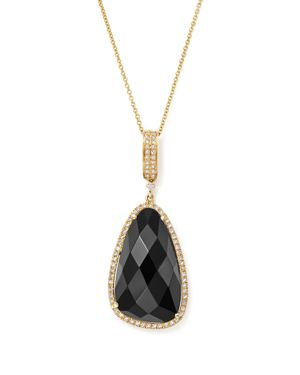 Onyx and Diamond Pendant Necklace in 14K Yellow Gold, 16 - 100% Exclusive