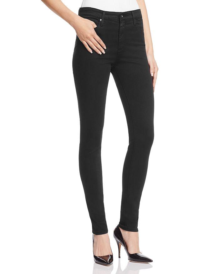 AG - Farrah High-Rise Sateen Skinny Jeans in Black
