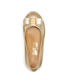 Salvatore Ferragamo - Girls' Varina Mini Metallic Ballet Flats - Toddler, Little Kid