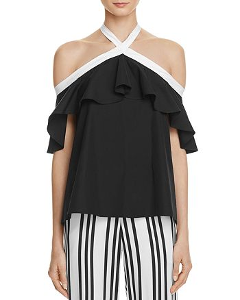 8f983b9da91a90 Alice and Olivia - Alyssa Off-the-Shoulder Halter Top - 100% Exclusive