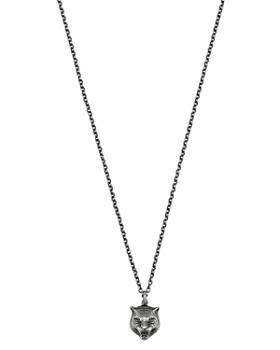cc9b4653181 Gucci - Sterling Silver Feline Head Pendant Necklace