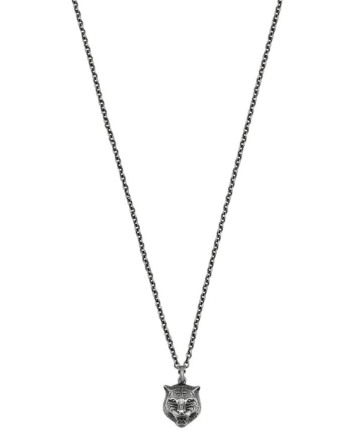 Gucci - Sterling Silver Feline Head Pendant Necklace, 17""