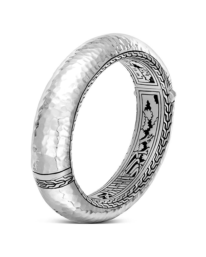 JOHN HARDY - Sterling Silver Classic Chain Hammered Large Oval Hinged Bangle