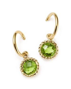 Peridot Small Hoop Earrings in 14K Yellow Gold - 100% Exclusive
