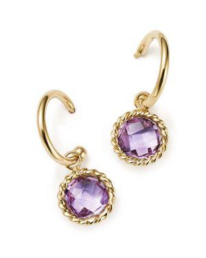 Amethyst Drop Hoop Earrings in 14K Yellow Gold - 100% Exclusive