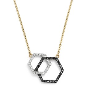 "Bloomingdale's - White and Black Diamond Geometric Pendant Necklace in 14K Yellow Gold, 17"" - 100% Exclusive"