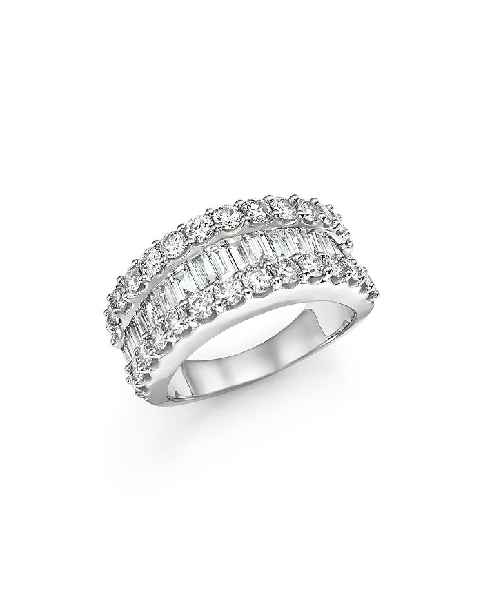 Bloomingdale's - Diamond Round and Baguette Band in 14K White Gold, 3.0 ct. t.w.- 100% Exclusive