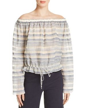 Theory Odettah Striped Off-the-Shoulder Top