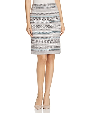 Foxcroft Fair Isle Metallic Tube Skirt