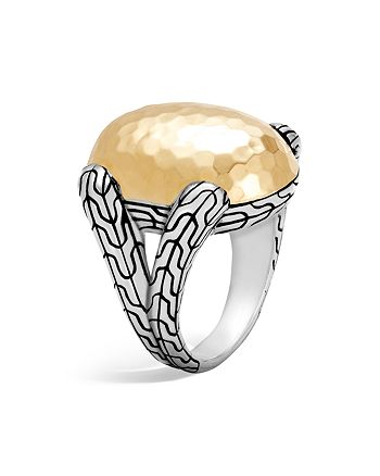 JOHN HARDY - Sterling Silver and 18K Bonded Gold Classic Chain Hammered Large Oval Ring