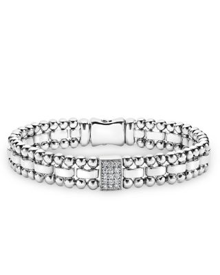 Sterling Silver Caviar Spark Diamond Rectangle Link Bracelet