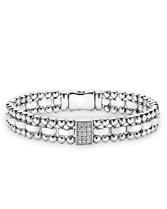 LAGOS - Sterling Silver Caviar Spark Diamond Rectangle Link Bracelet