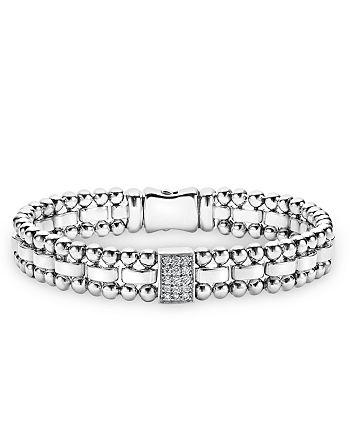 LAGOS - Sterling Silver Caviar Spark Diamond Rectangle Link Bracelet