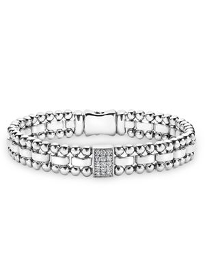 Lagos Sterling Silver Caviar Spark Diamond Rectangle Link Bracelet