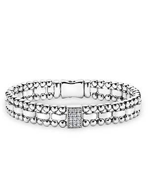 Lagos Sterling Silver Caviar Spark Diamond Rectangle Link Bracelet