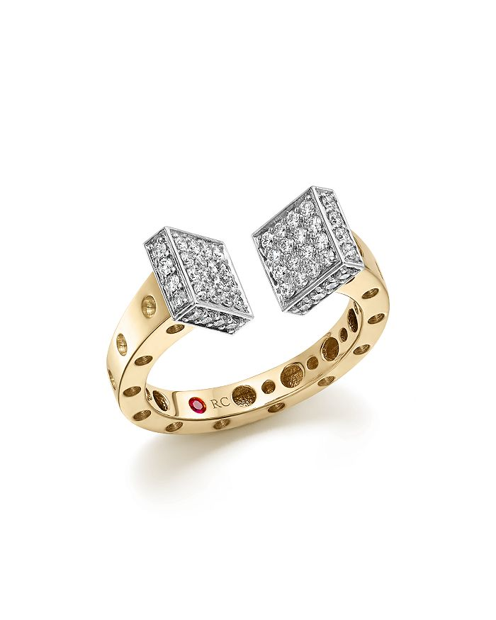 Roberto Coin - 18K White and Yellow Gold Pois Moi Chiodo Ring with Diamonds - 100% Exclusive